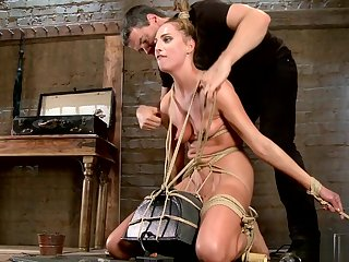 Tied blonde slave is made ride Sybian