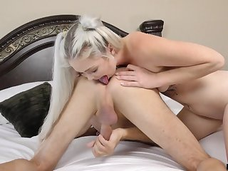 Torrid blonde nympho Kay Carter is hammered doggy style before riding cock