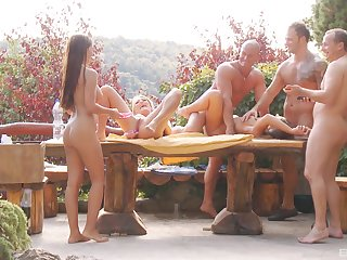 Three swiger couples get together to have wild outdoors sex