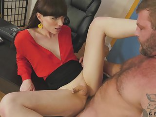 Highly emotional and rather sexy leggy shemale Natalie Mars is anal pounded