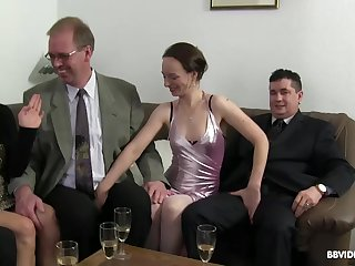 Passionate fucking during a large fuck party with German matures