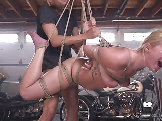 Full hardcore in ropes during this babe's first bondage