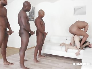Ciara Riviera is trying an interracial DAP during a group sex session, and enjoying it a lot