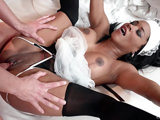Ebony maid pleases master with her very tight cunt