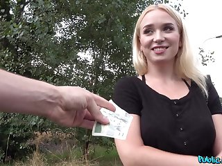 Girl accepts cash for a bit of flashing and some naughty POV sex