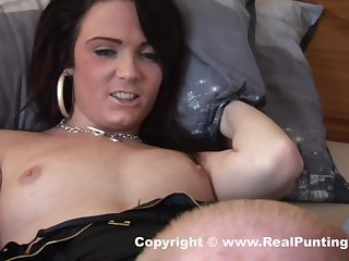 Lusty brunette in black stockings is spreading her legs wide open and getting her pussy licked