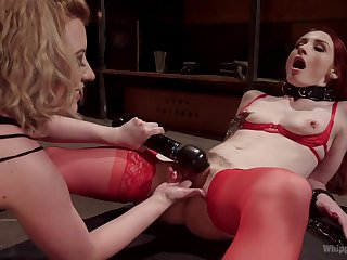 Daunting lesbian BDSM session for sultry Cherry Torn and Violet Monroe