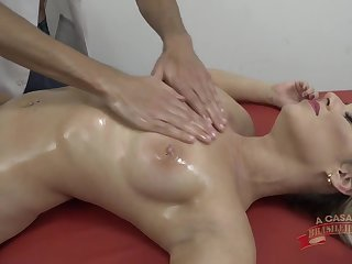 Oiled massage and hard sex for hot blonde