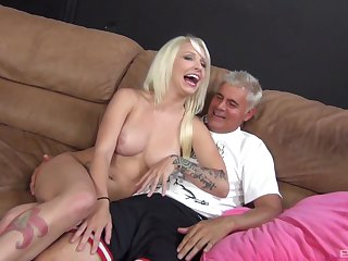 Smooth fucking on the leather sofa with busty model Stevia Shae
