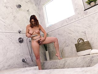 Hairy pussy Edyn Blair licked and fucked in the shower. HD