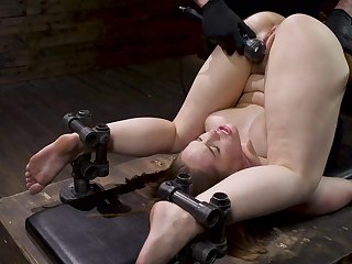 Gagged babe ends up being ass fucked in merciless BDSM