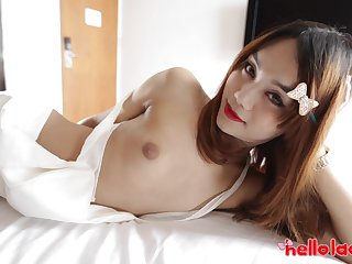 Asian shemale Ning is made for some quite hard doggy anal banging