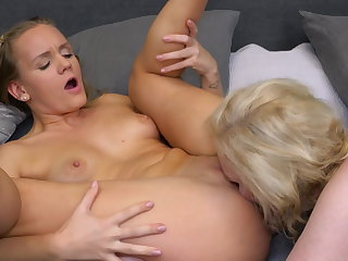Lesbian 69 sex after a bath with busty mom