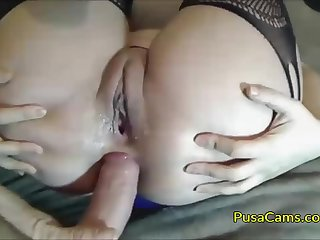 Perfect anal playing with cam models ass, she is in her hot stockings and that ass is just unbelievably