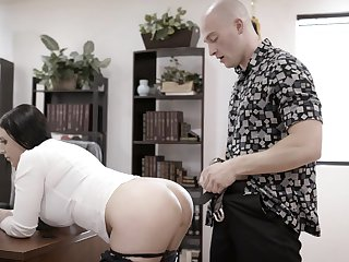 Bald dude brutally fucks the shit out of his too strict busty boss