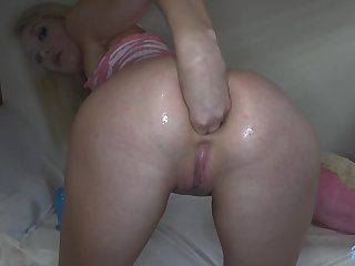 Horn-mad blue eyed blonde neonate loves fisting increased by anal sex