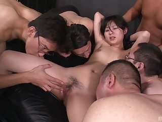 Real Asian orchestra bang pleasures for a shy unpaid thirsting for cum