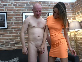 Older clothes-horse gets his dick jerked off by a cute younger chick