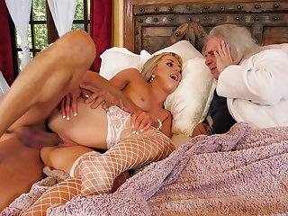 Rich old man watches his spliced being cuckold fucked in crazy XXX