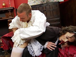 prex ass fucks the hot maid after rubbing her tits and gagging her